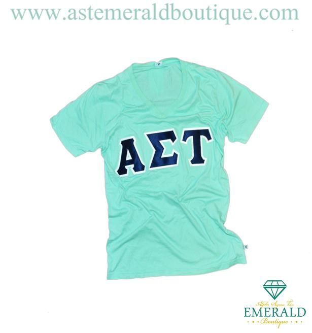 Alpha Sigma Tau Emerald Boutique Navy Mint V-Neck! Classic and simple