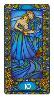 """2-17-13 Sunday's Tarot: 10 OF CUPS (Art Nouveau Tarot) – Spend time with your family today. Put them first. You've had a busy week (and perhaps even a chaotic one, for some of you). For just today, let go of the worries and the """"to do"""" lists . . . and just LIVE! Share with your loved ones and create some brand new memories for the future."""