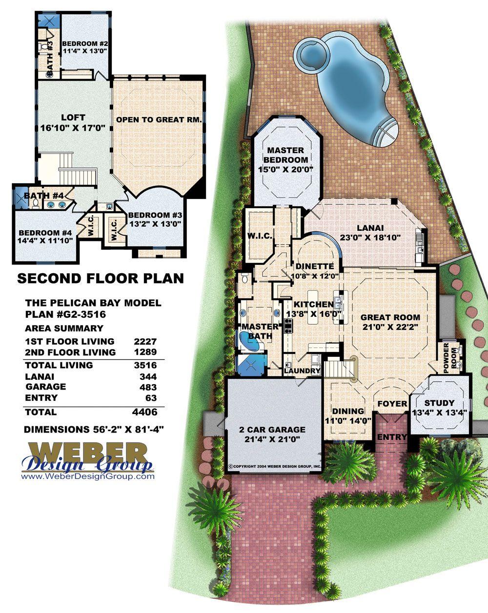 Pelican Bay Home Plan Weber Design Group Naples Fl Narrow Lot House Plans House Plans Lake House Plans