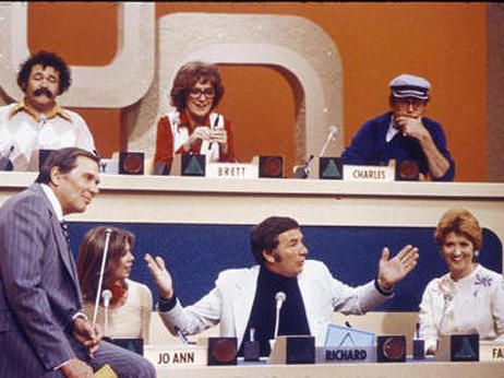 The participants on an early episode of The Match Game, including Richard Dawson in the lower center position. One of my favorite programs in the 70's...