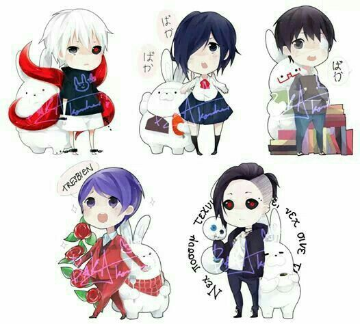 Kaneki, Touka, Shuu, Uta, cute, chibi, ghouls, dark hair, eye patch, white hair, ghouls, kagune, bunnies, rabbits, text; Tokyo Ghoul