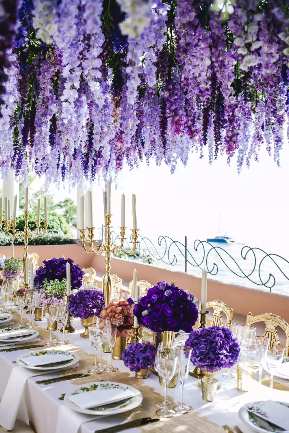 Annie Lawless S Spectacular Wedding In Positano Purple And Gold Wedding Purple Wedding Flowers Purple Wedding Decorations