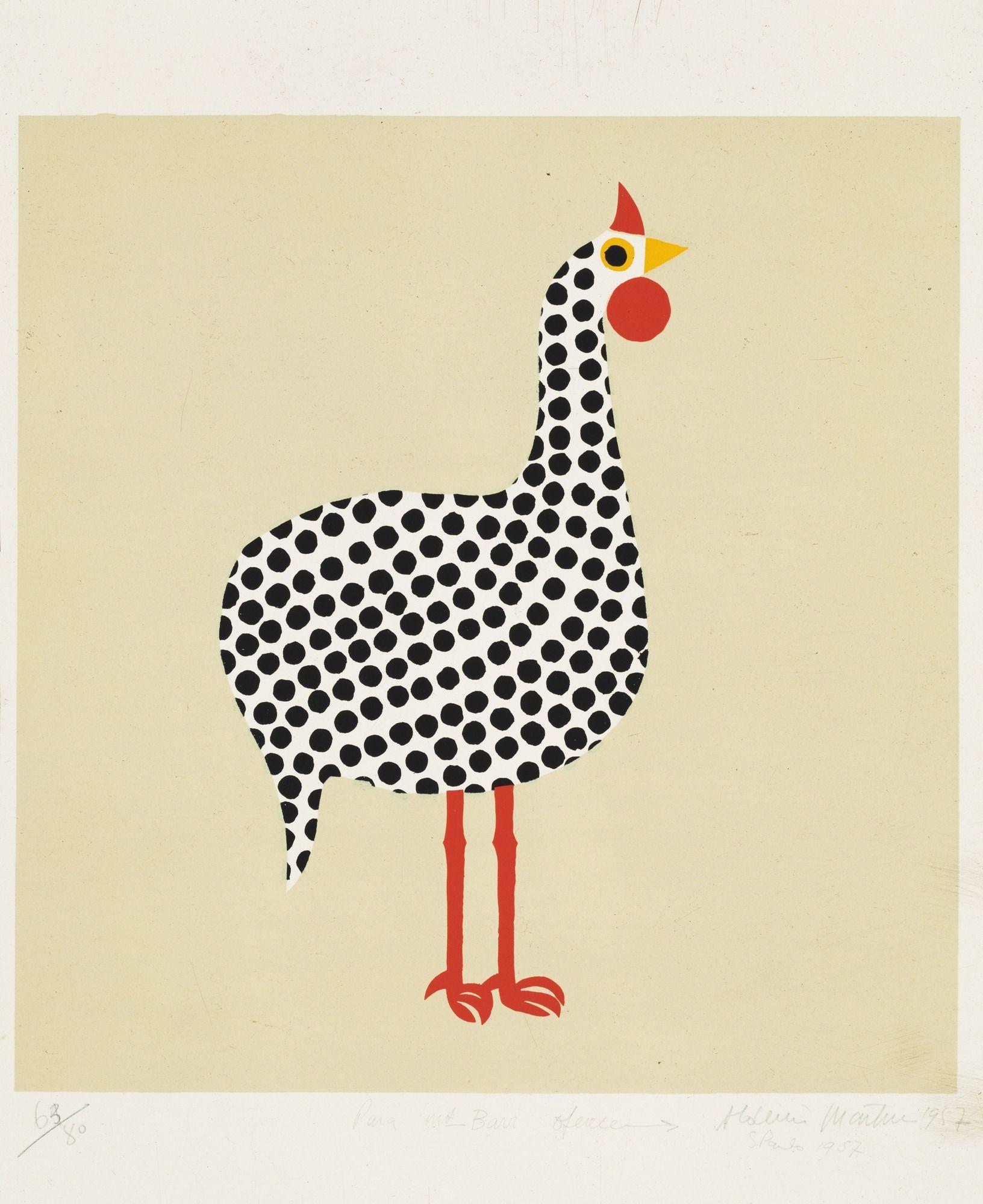 Aldemir Martins Galinha D Angola Bird 1957 Com Imagens
