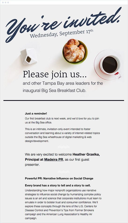 The Best Email Marketing Campaigns of 2015 Campaign Monitor - best of invitation card sample for inauguration