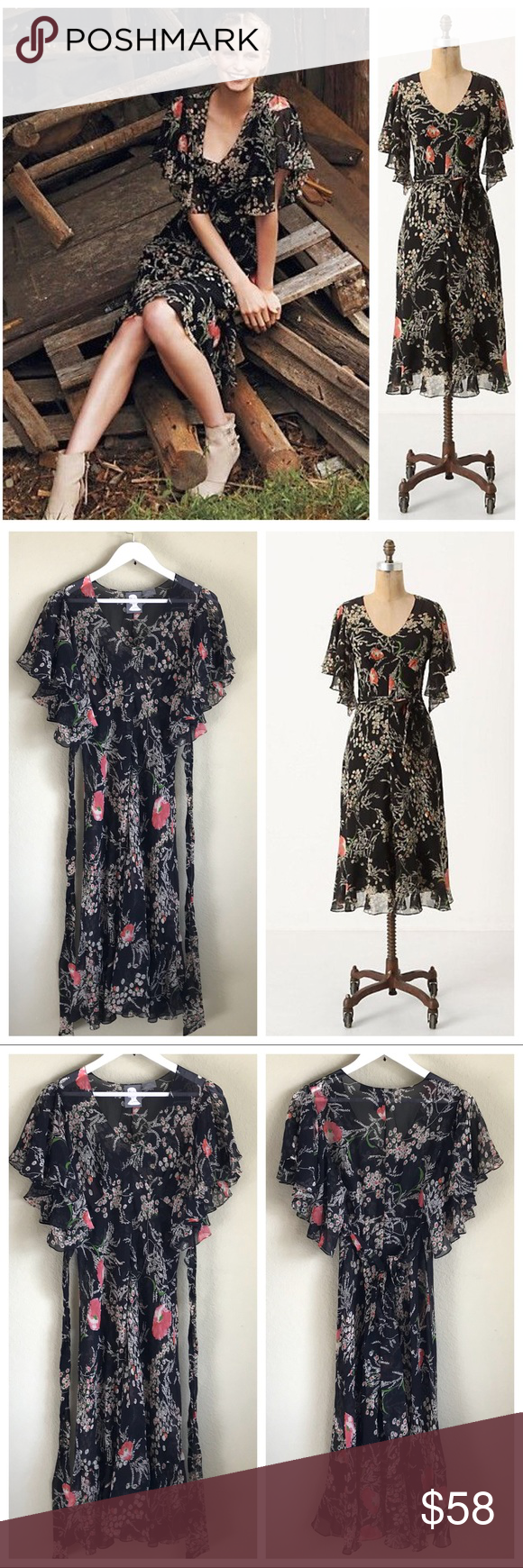 """ANTHROPOLOGIE Silk Floral FLORI Dress ANTHROPOLOGIE """"Girls From Savoy"""" """"FLORI"""" Dress Size 8  Empire waist, lovely ruffled sleeves, attached sash which ties in the back or the front. 100% Silk  Semi-Sheer Sold without a black slip and price adjusted to reflect missing piece EUC  Measurements taken while laying garment flat (one side) - approx: ~Bust 19"""" ~Length 46""""  :::: Thank you for looking and please check out the rest of my closet. ::: Anthropologie Dresses Midi"""