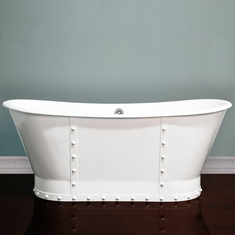 67 inch Cast Iron Pedestal Dual Ended Slipper Skirted Bathtub ...