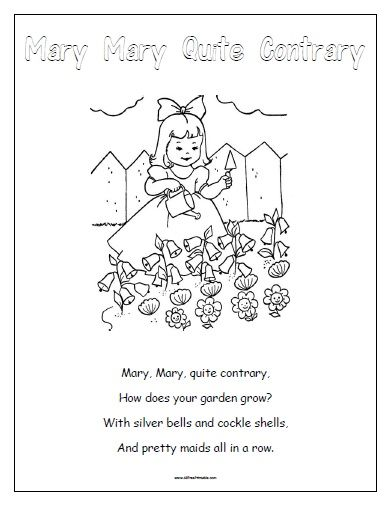 30++ Mary mary quite contrary coloring page free download