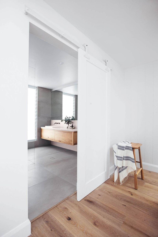 Design Architecture House Modern Architecture White Floor In 2020 White Barn Door Sliding Doors Interior Interior Barn Doors
