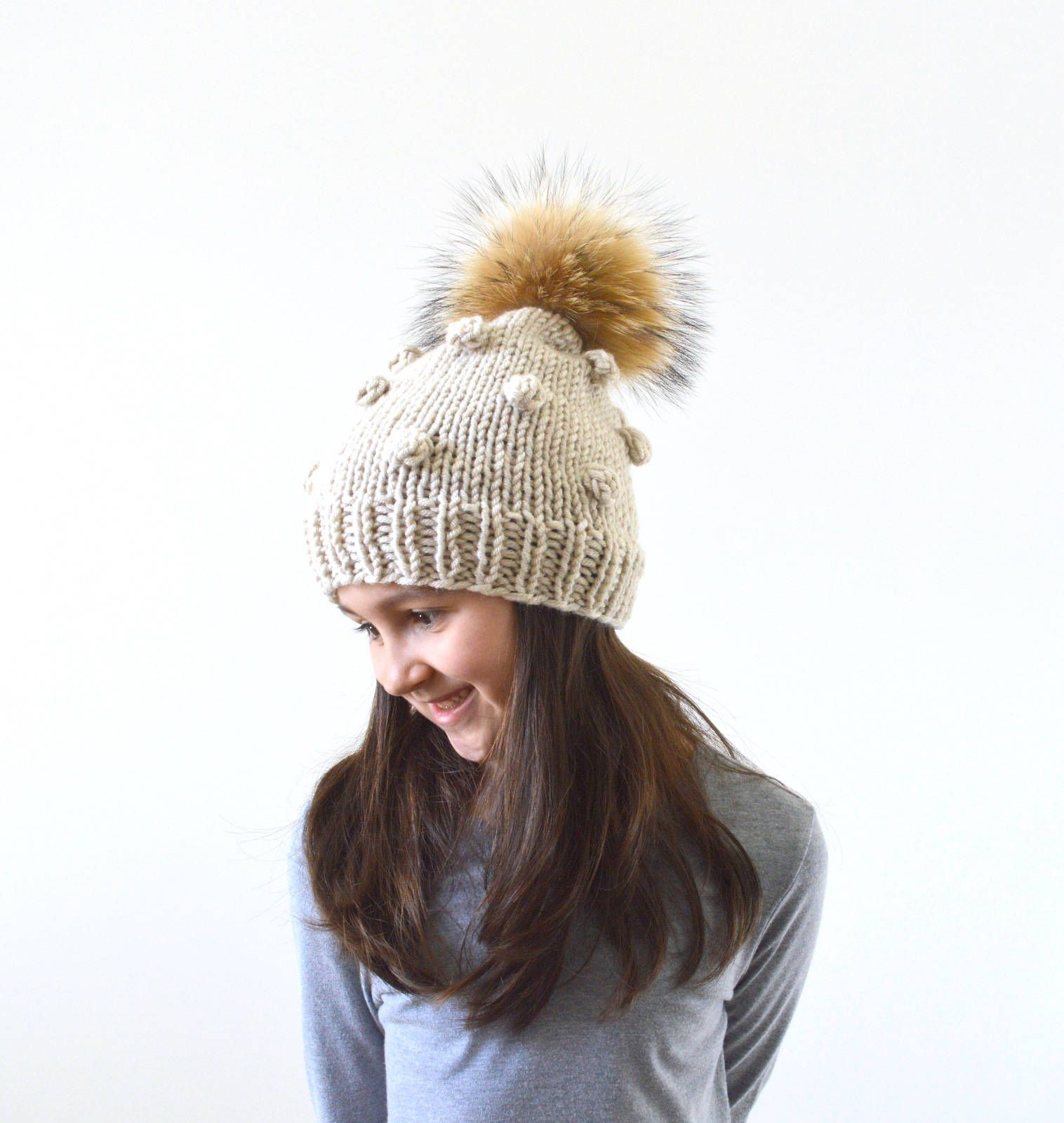 Girls Knit Slouchy Pom Pom Hat, Childrens Slouchy Beanie, Girls Knit ...