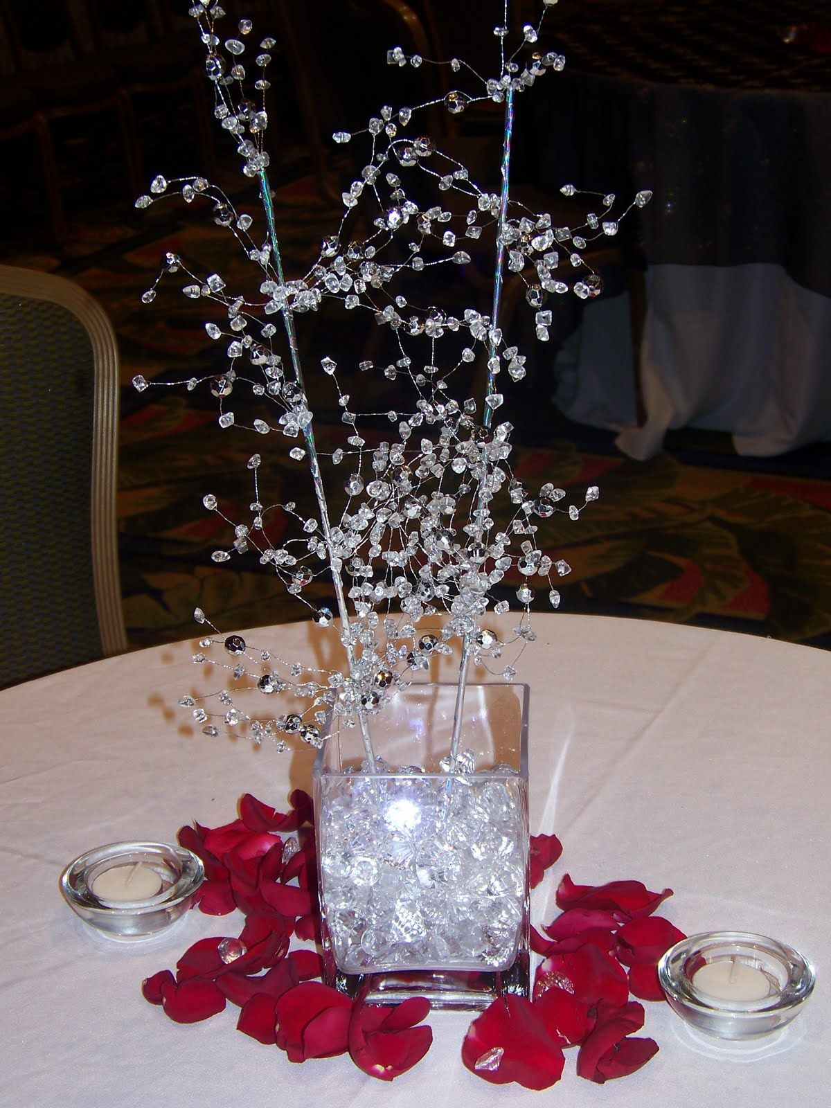 8a80da77b650ce Smaller crystal centerpiece with red rose petals pics of our beaded  centerpieces Crystal Ballroom Marriott World Cen.