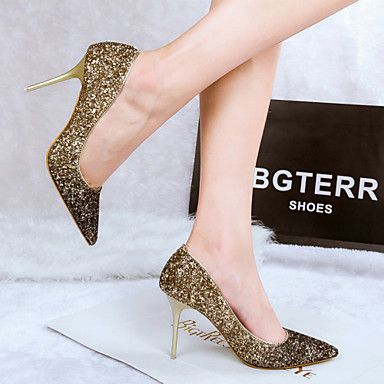 Red gold  Womens Shoes Glitter Stiletto Heel Heels Pointed Toe Closed Toe  Heels Dress Blue