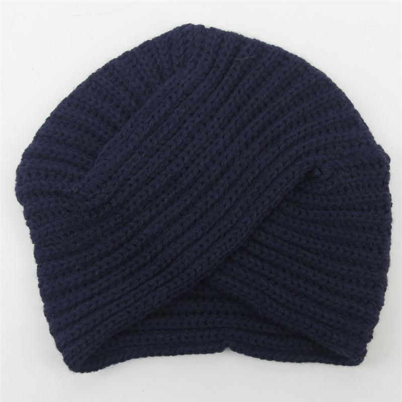 19f6282b064 New Knitted Turban Hat For Women Winter Beanies Cap Fashion Ladies Indian Turban  Caps Solid Headwear Autumn Men Skullies Hats