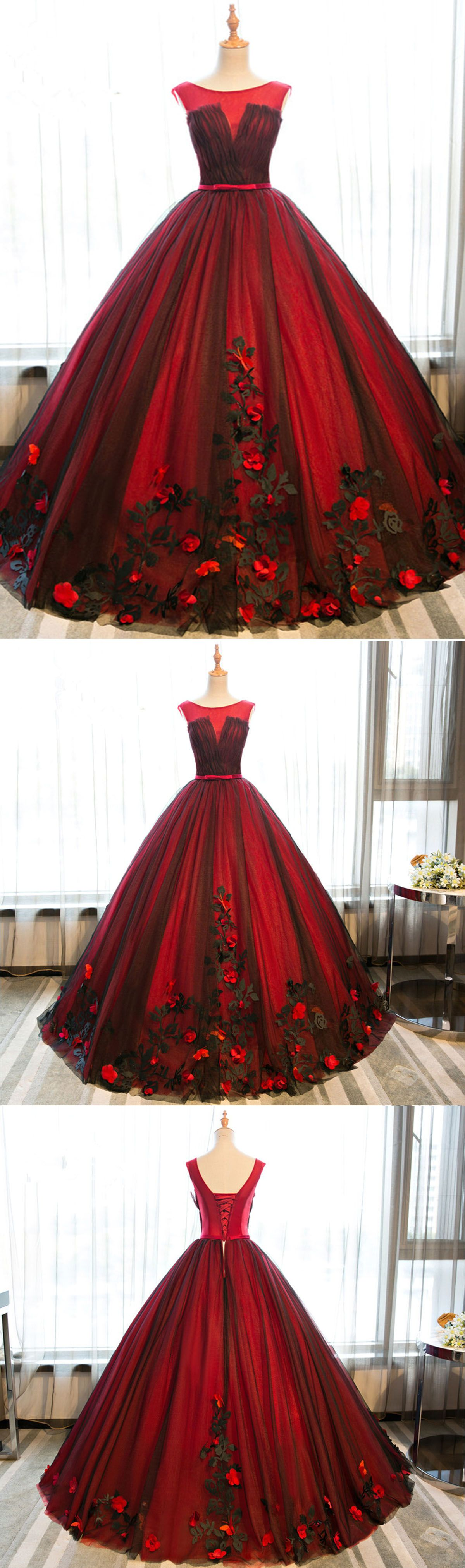 Beautiful red satin long poofy prom gown for teens prom gown