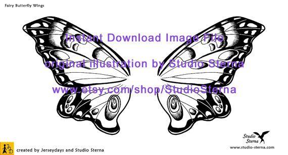 Zeichnung Fee Fantasy Flügel Design Schmetterling digital download ...