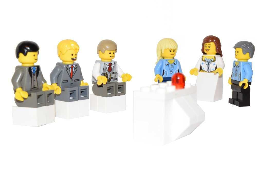 Lego Wedding Minifigures:  Wedding family members watching tv, Lego minifigure scene.  Image 1000 x 677 compressed.  Copyright © 2016 · BrickTwist.com