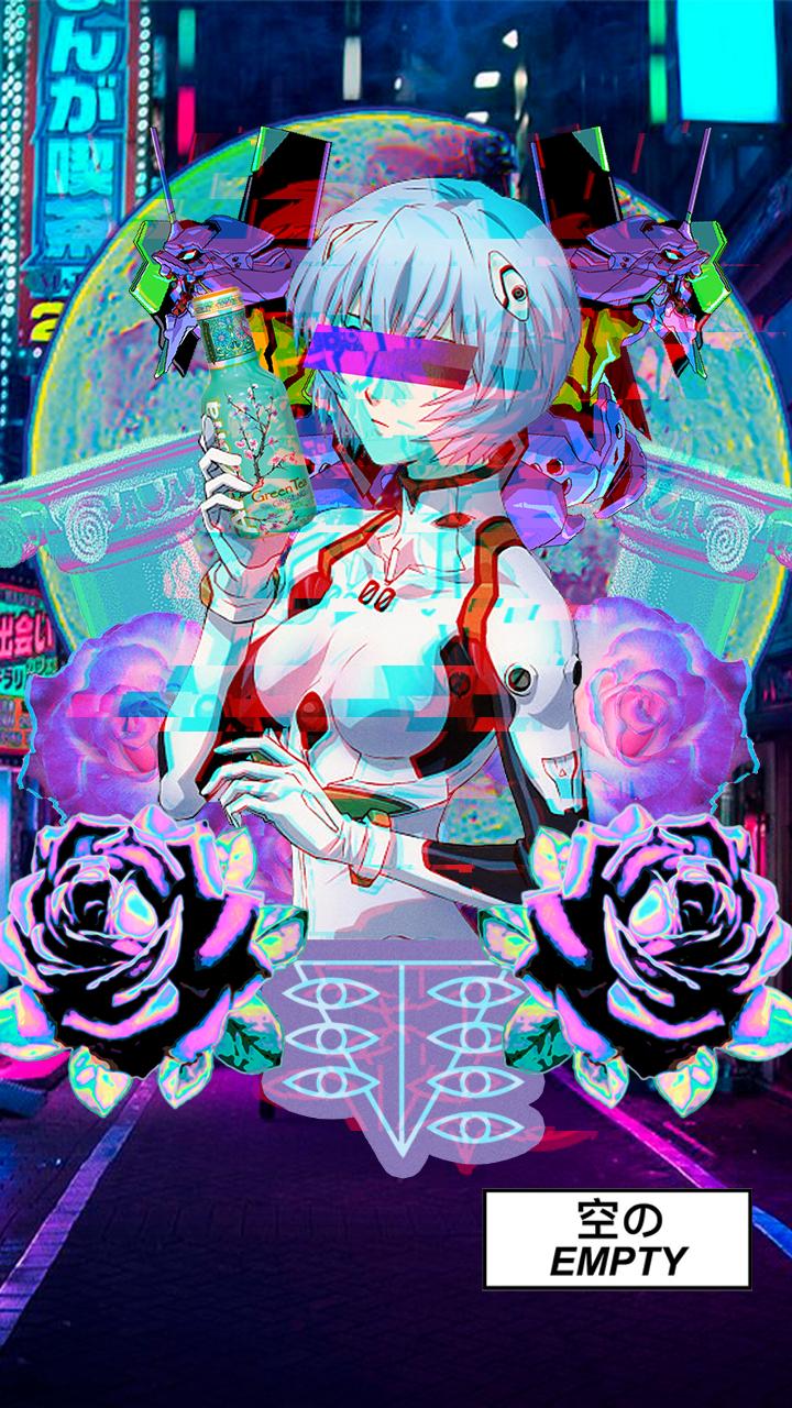Rei Ayanami Empty Arizona Vaporwave Arte De Anime
