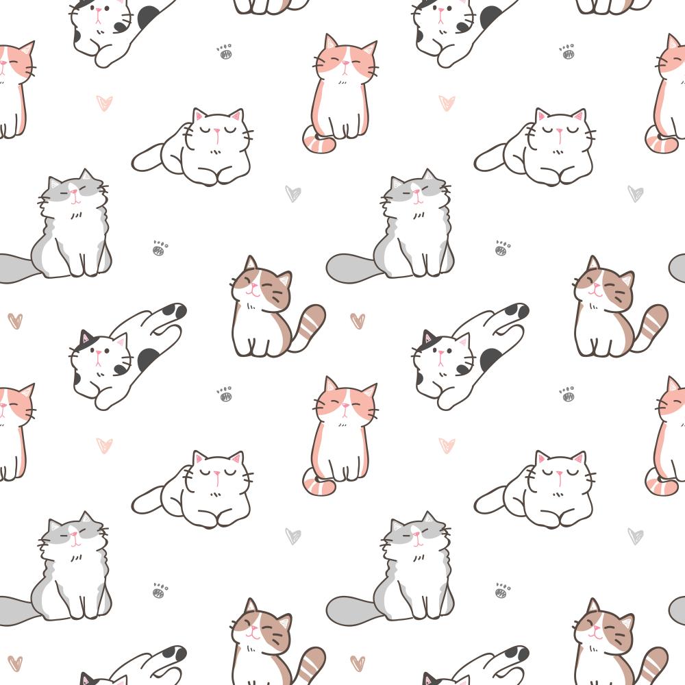 Seamless Pattern Cute Cartoon Cat Paw Cartoon Cat Cat Paws Paw Illustration