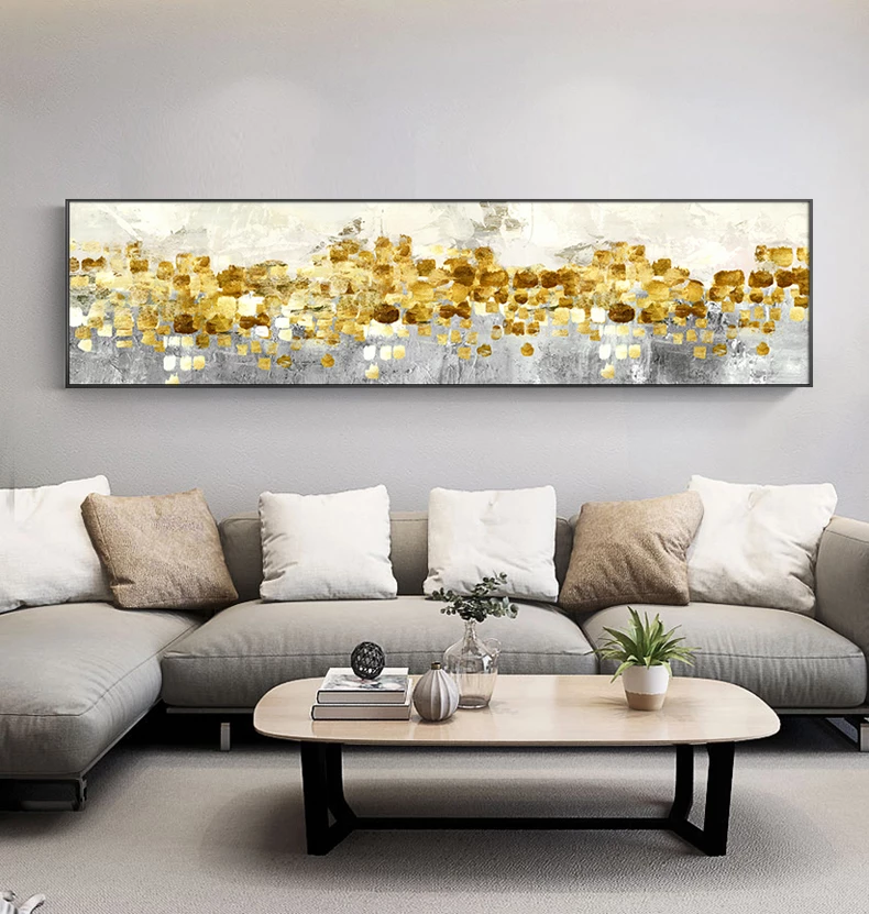 Abstract Golden Horizon Panoramic Wide Format Wall Art Fine Art