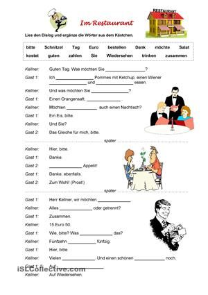 Im Restaurant | Daf | Pinterest | Worksheets
