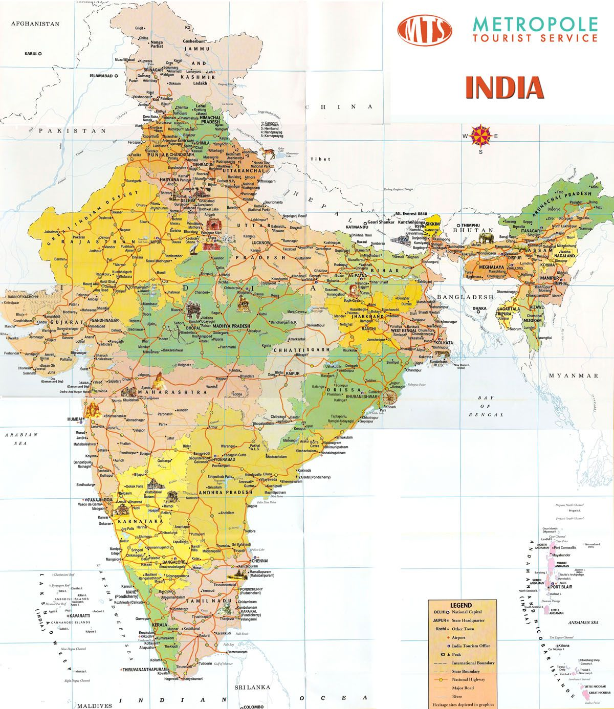 Download Large detailed tourist map of India india travel