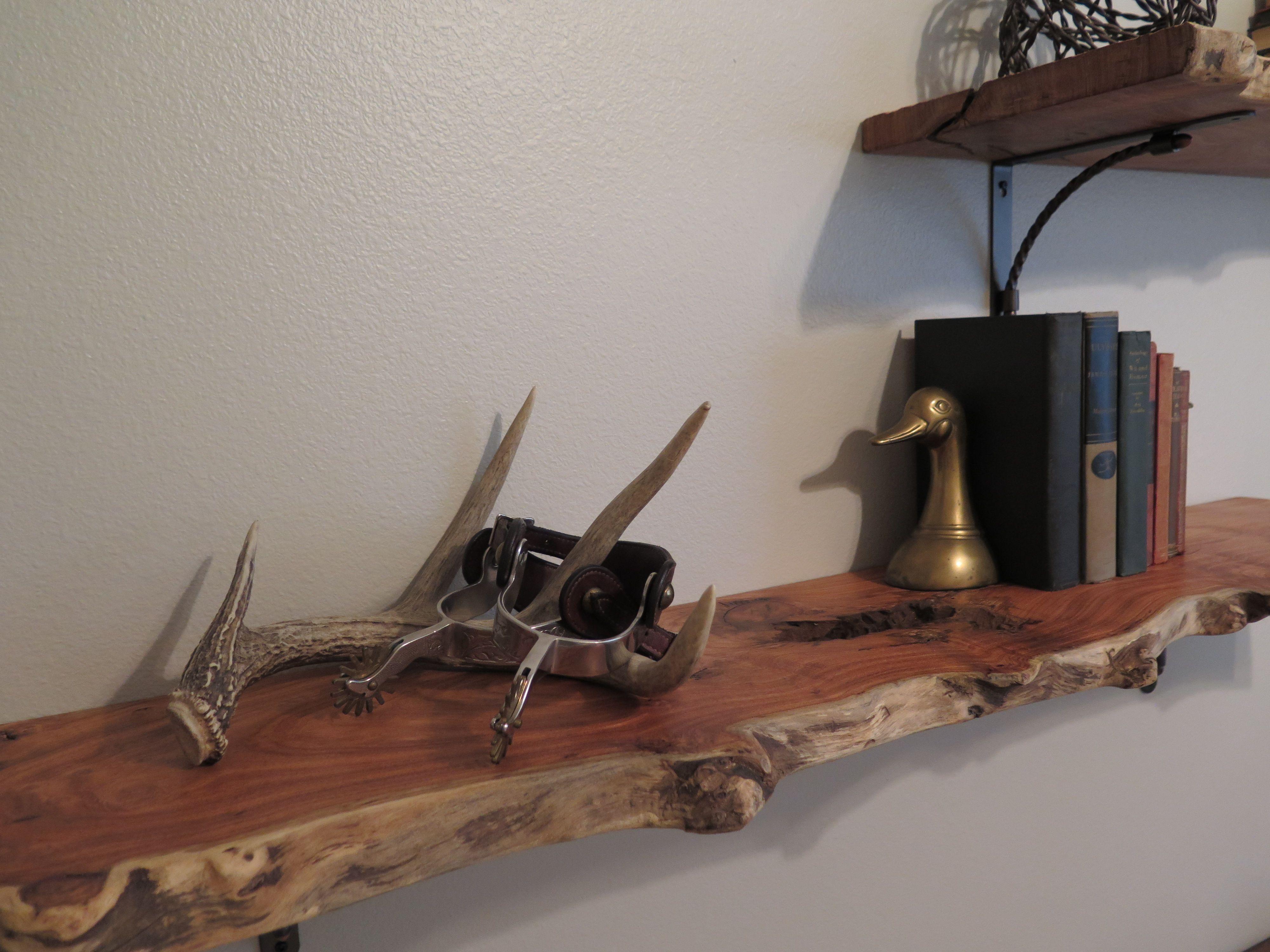 Rustic nursery: Raw edge mesquite shelves custom cut | Jack ...