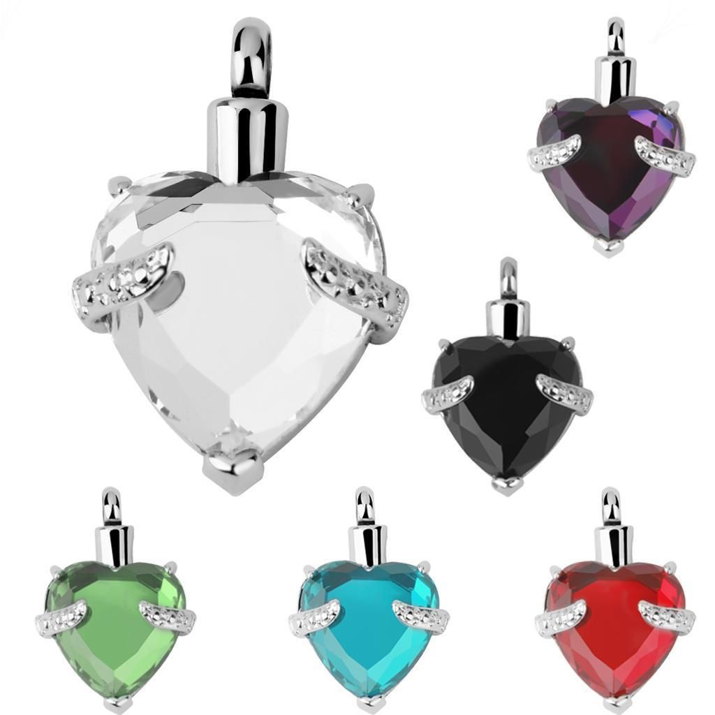 Crystal Cremation Urn Necklace for Ashes Pendant Stainless Steel Cremation Keepsake Urn Pendant Necklace for Ashes