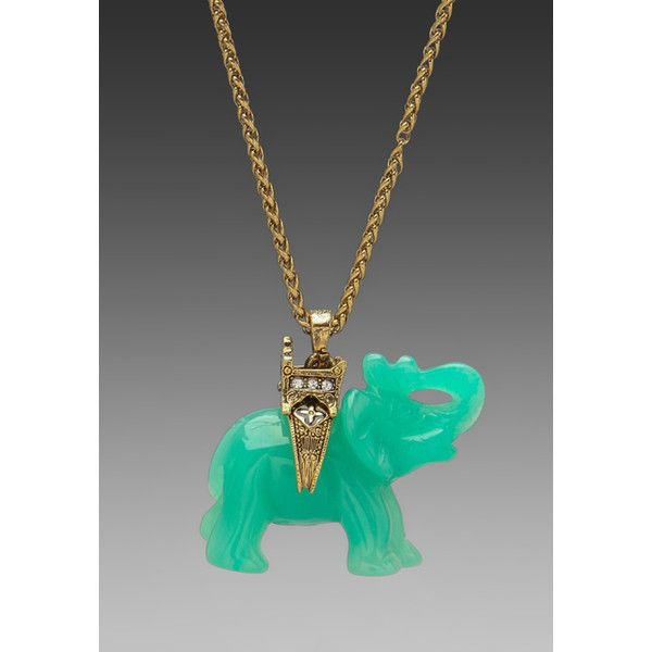 Kenneth Jay Lane Gold Chain and Elephant Necklace ($118) ❤ liked on Polyvore
