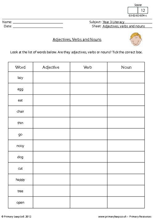 look at the list of words below are they adjectives verbs or nouns tick the correct box. Black Bedroom Furniture Sets. Home Design Ideas