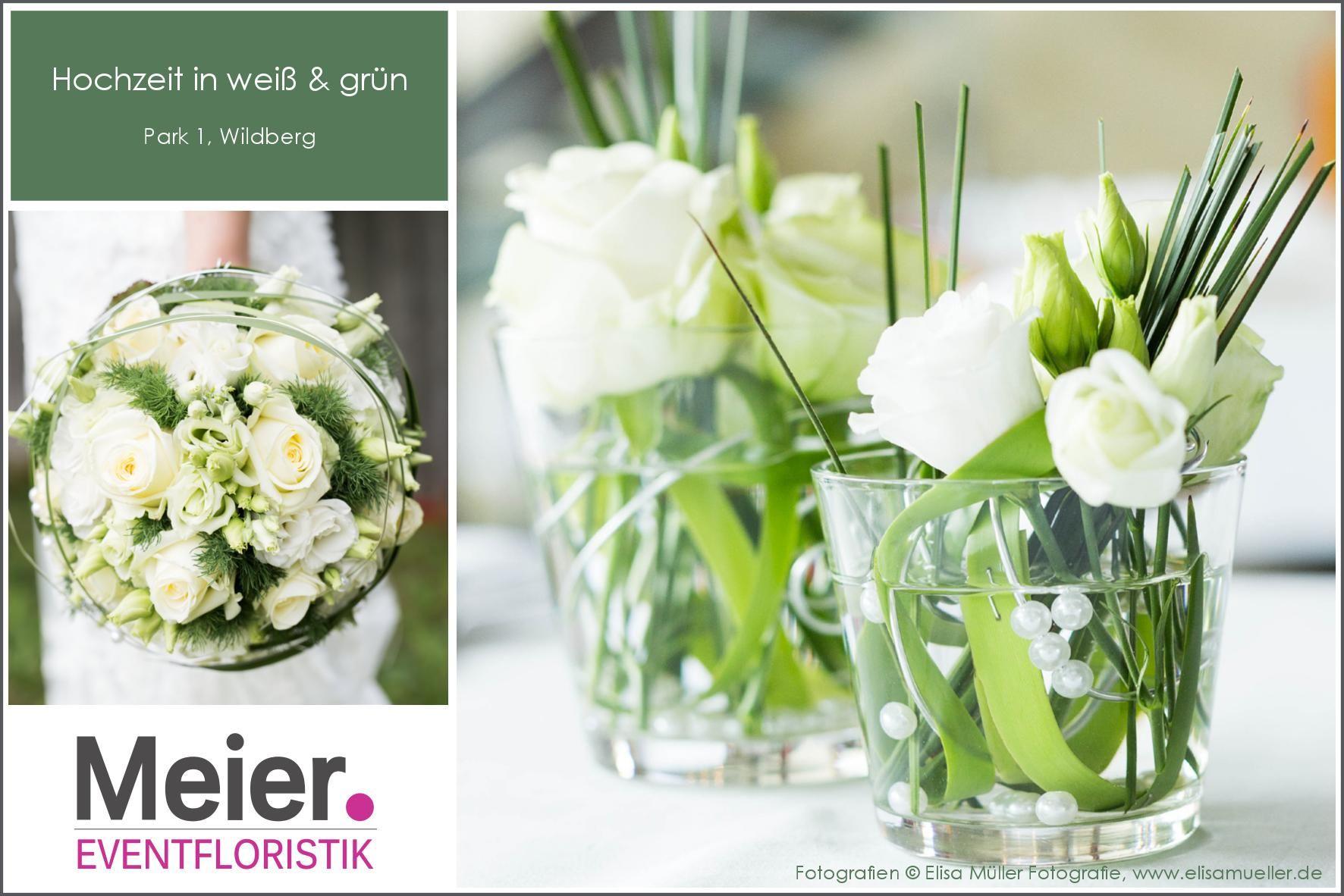 Hochzeit  Tischdeko und Brautstrau mit weien Rosen und