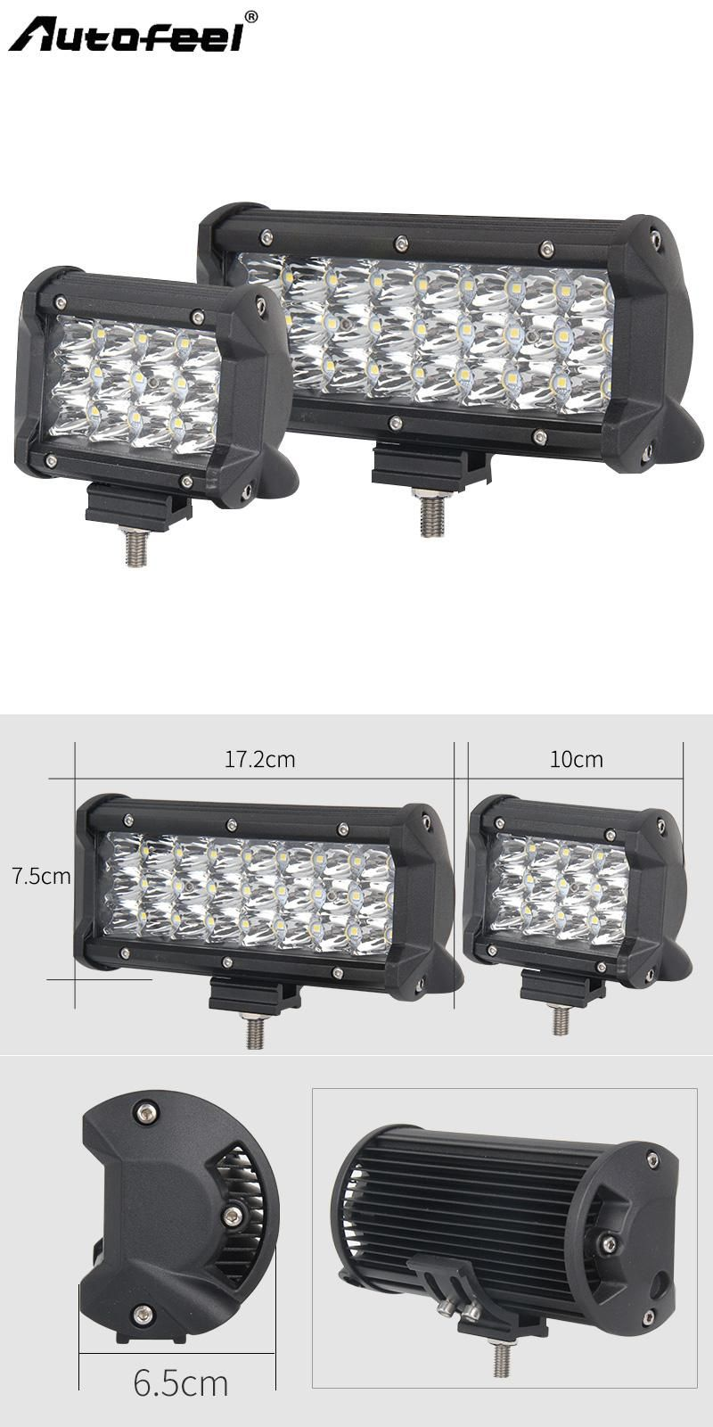 Autofeel Triple Rows Led Car Light Bar 4 7 Straight Work Light 72w Large Led Chips Offroad Spot Beams Black Friday 6000k Bar Lighting Car Lights Work Lights