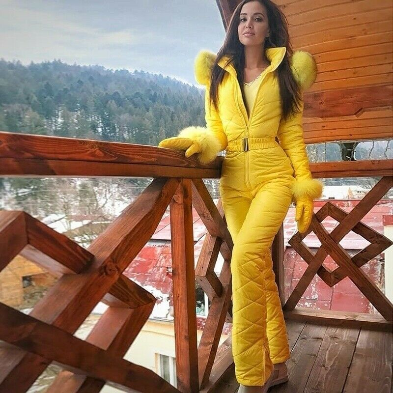 Womens Winter Warm Jumpsuit Fur Collar Outdoor Skisuit Coat Romper With Gloves