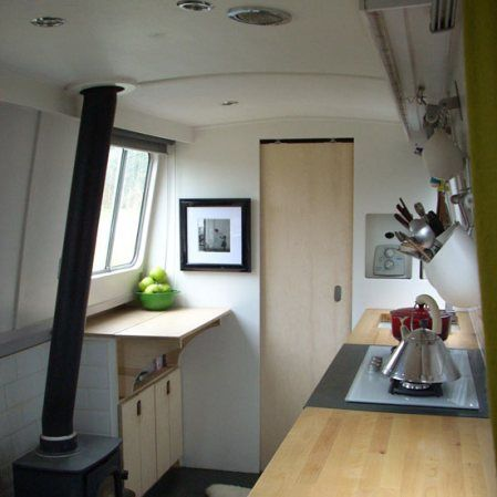 arrowboat galley kitchen, modern canal boat kitchen | boats and