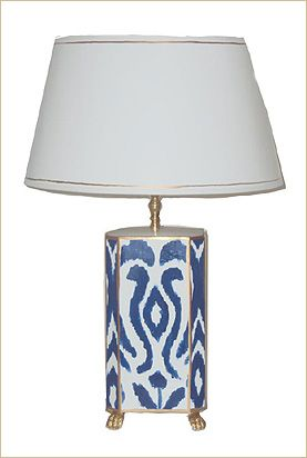 Hand Painted Navy Ikat Lamp 375 26 H Bleulilihome 1407 Third Ave