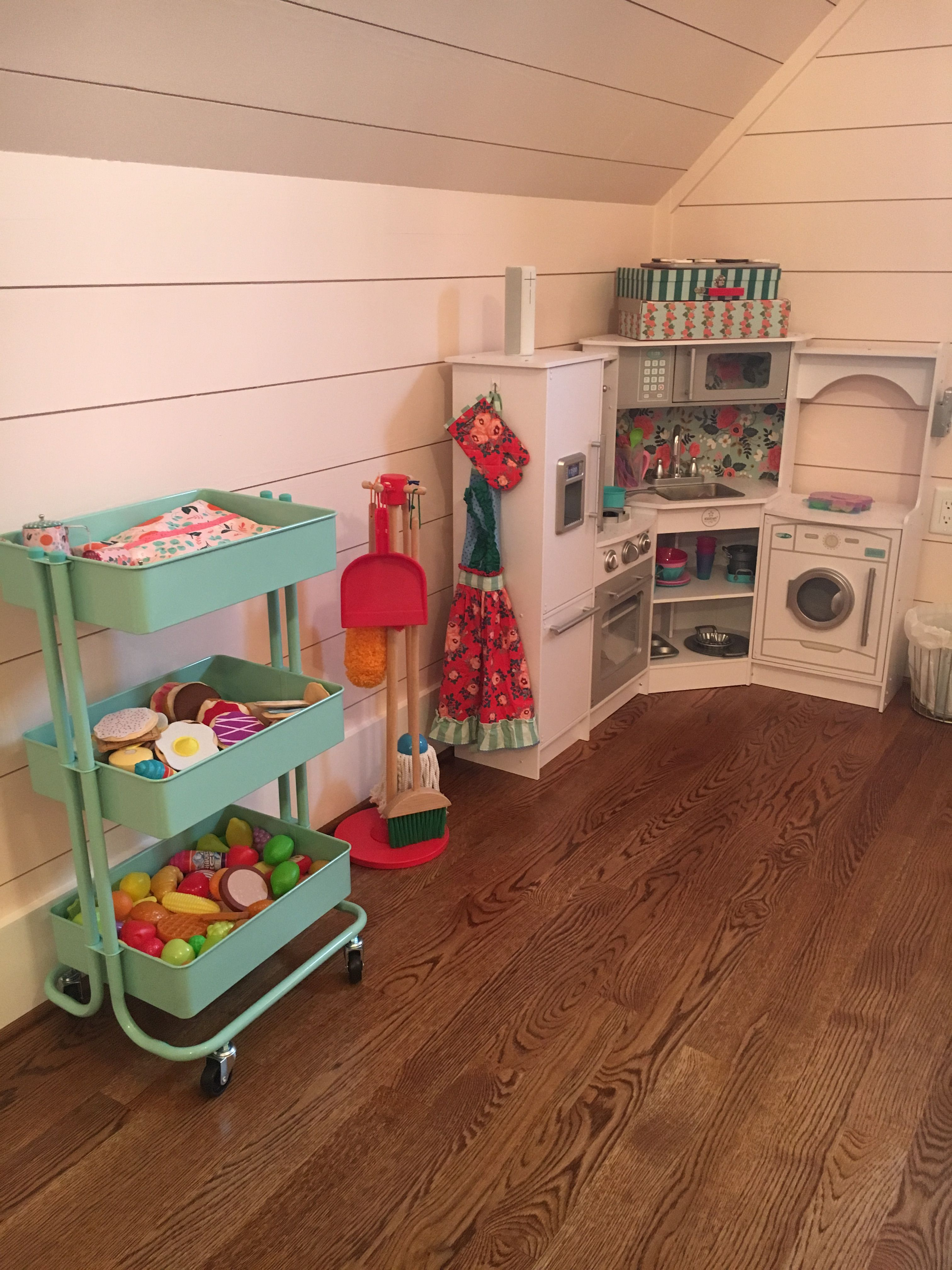 Play Kitchen with play food storage.