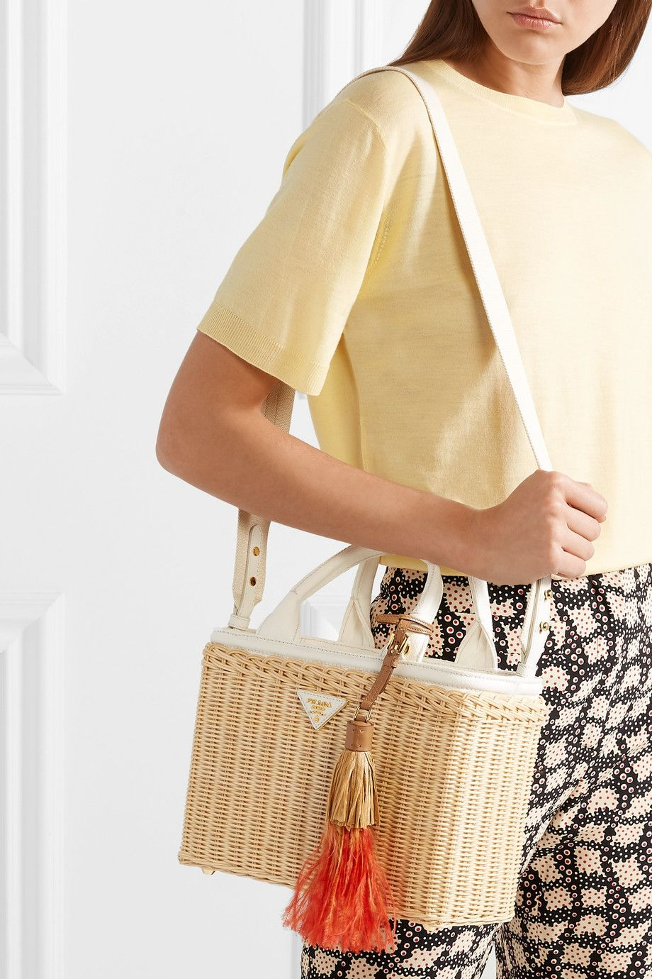 5b48b70c6d48 Prada | Midollino tasseled canvas and leather-trimmed wicker tote |  NET-A-PORTER.COM