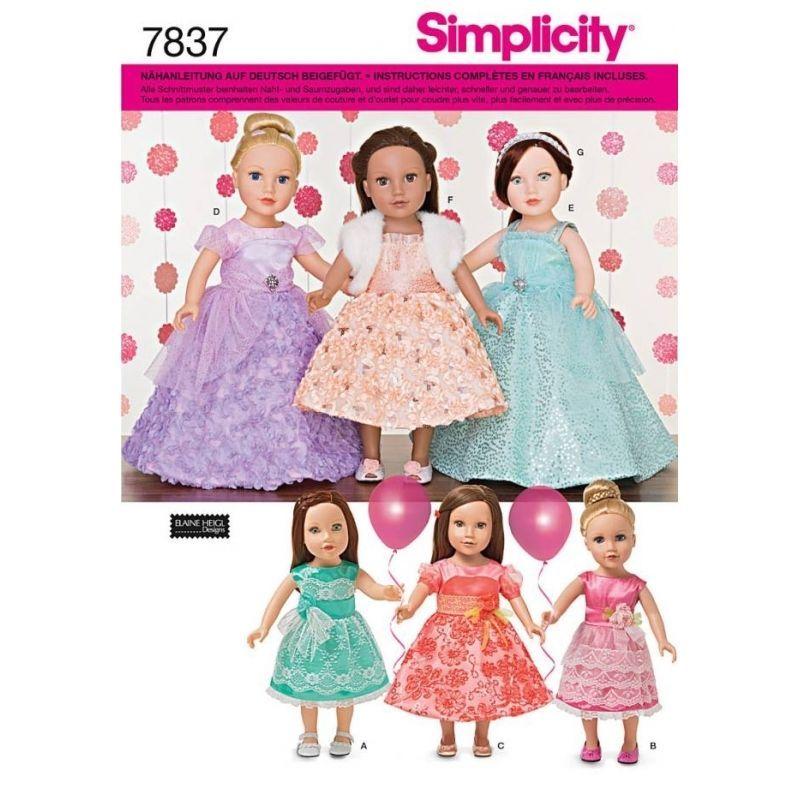 SIMPLICITY 7837 OS SCHNITTMUSTER PUPPEN PUPPENKLEIDER 6 VARIATIONEN ...