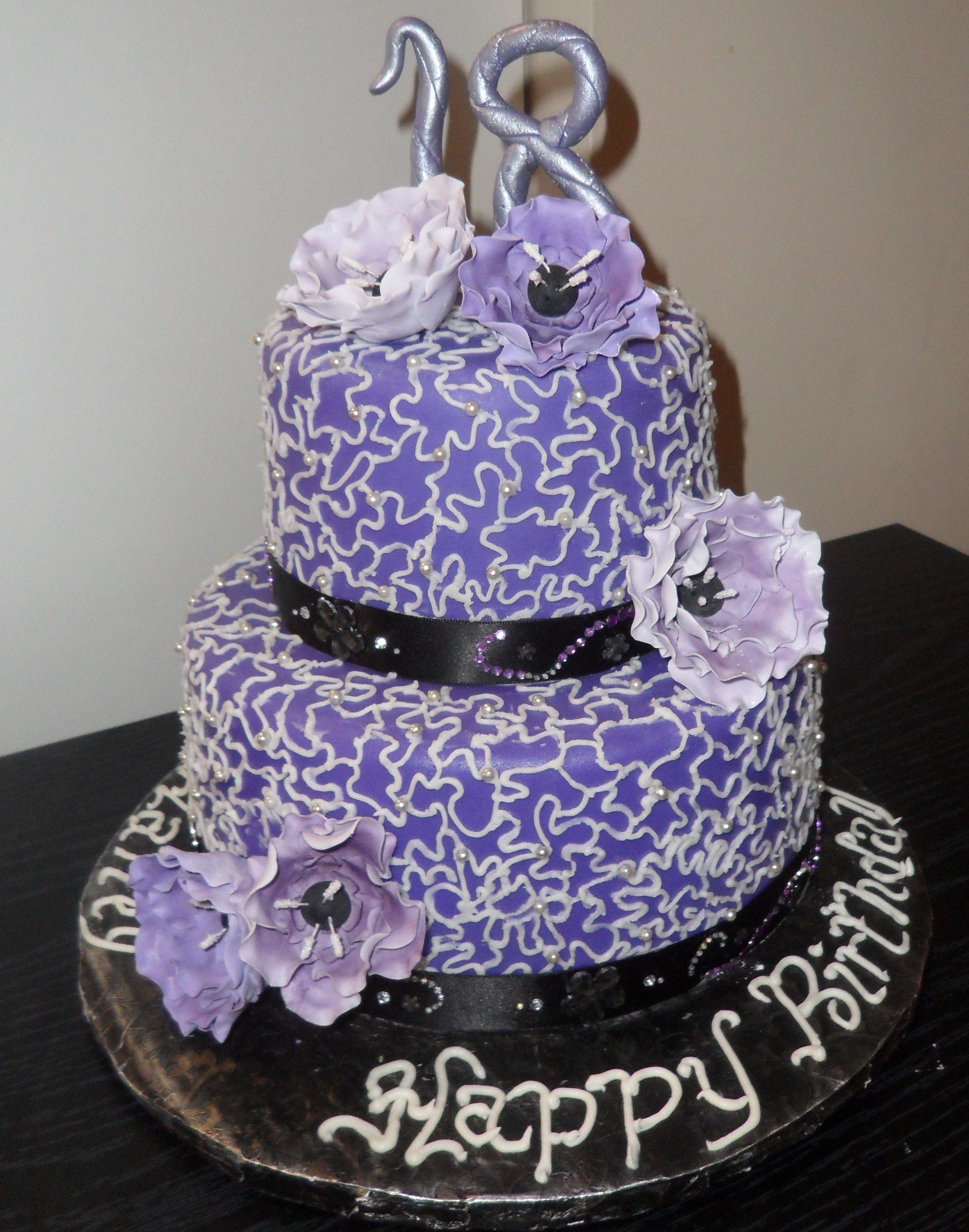 18th Birthday Cake With Purple Fantasy Flowers