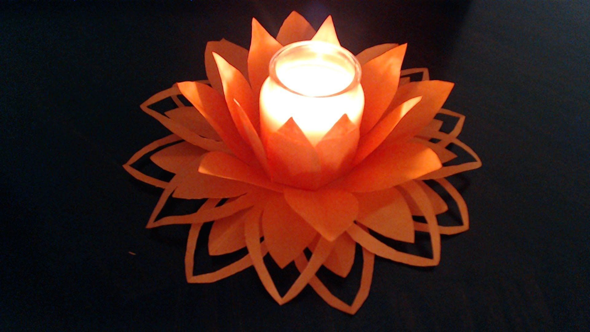 Slower Version Of Easy Paper Flower Candle Decoration Full Video