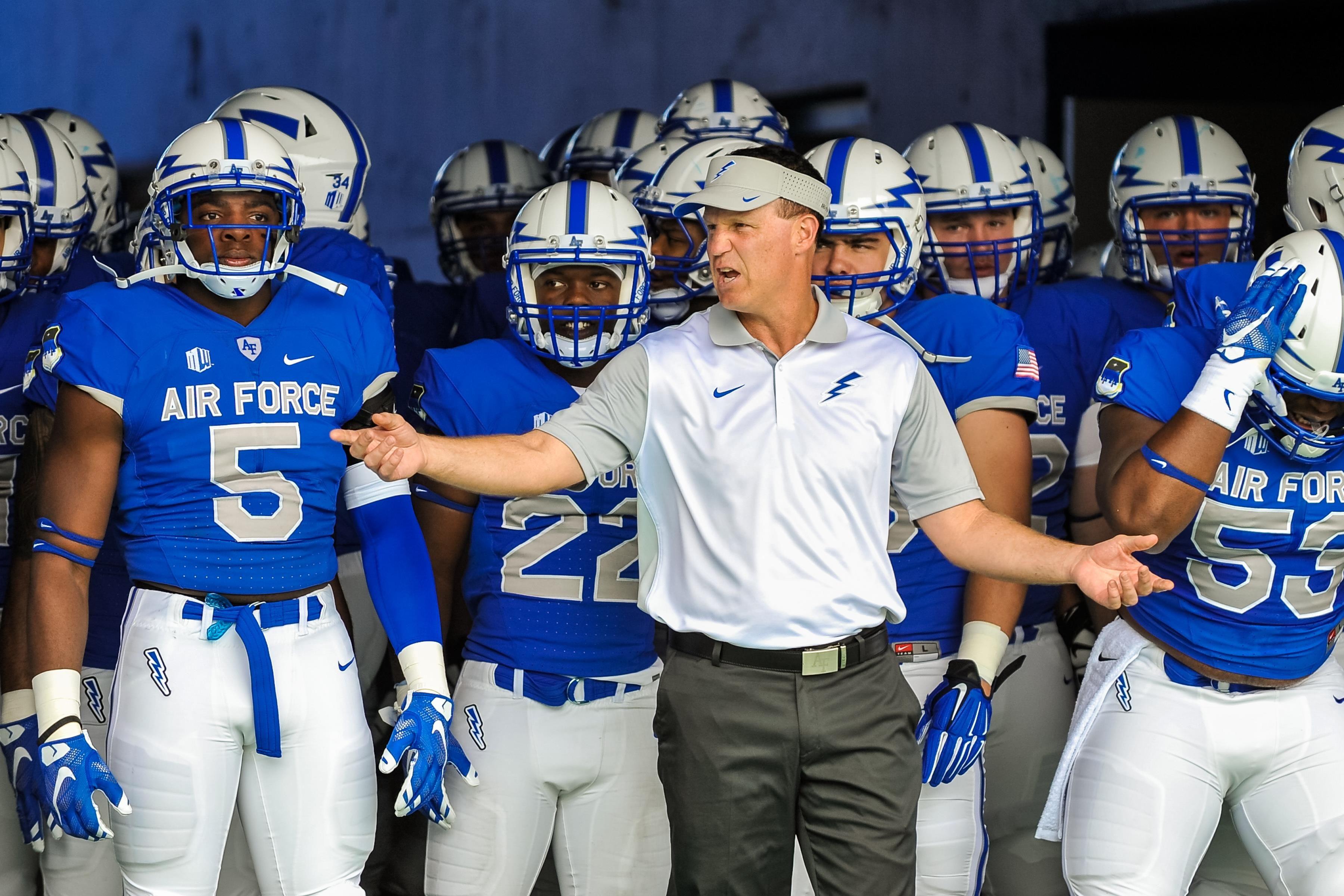 Falcon football head coach Troy Calhoun rallies his team