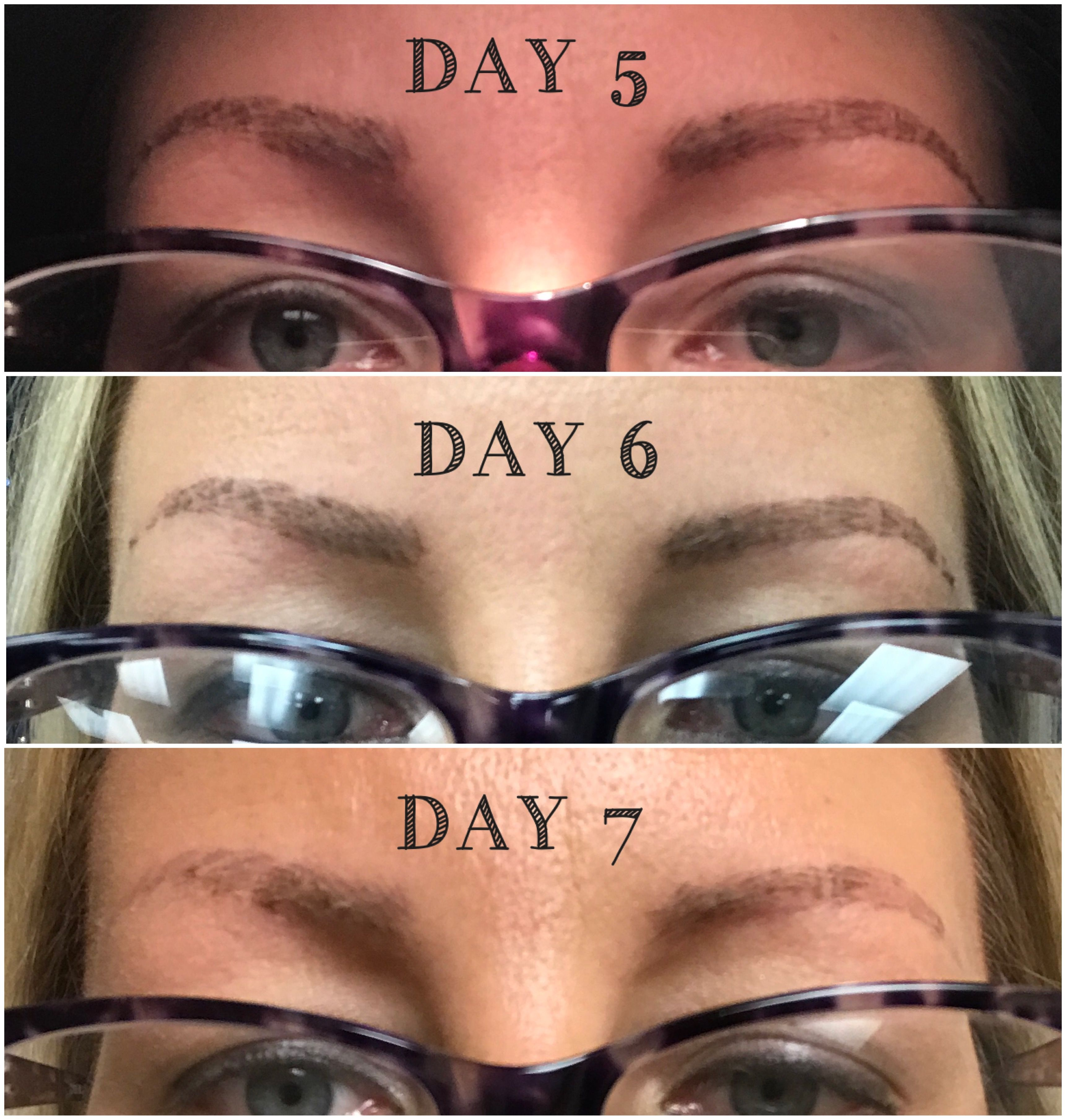 microblading healing day 5, day 6, and day 7