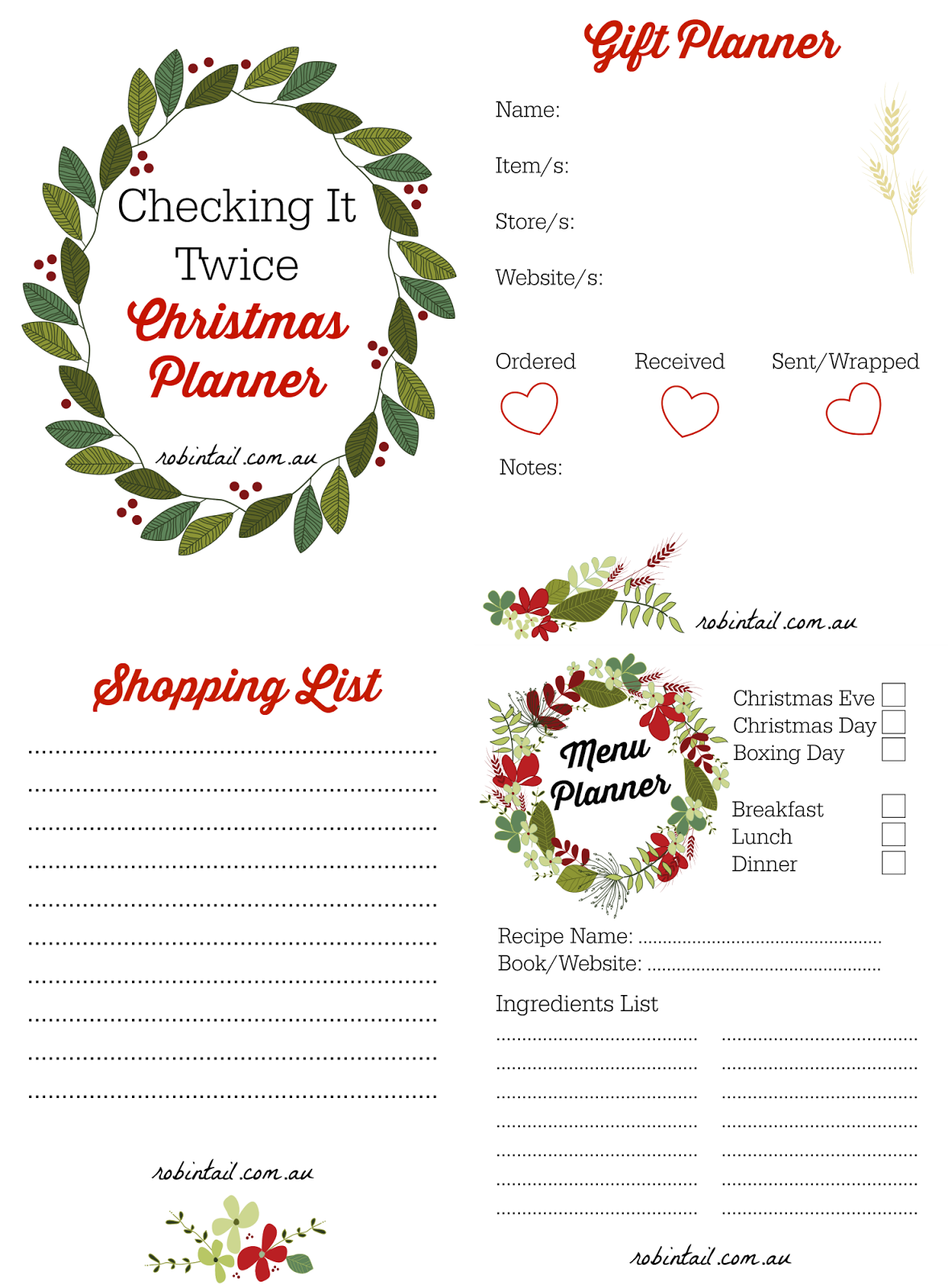 Robintail: Free Printable Christmas Planner