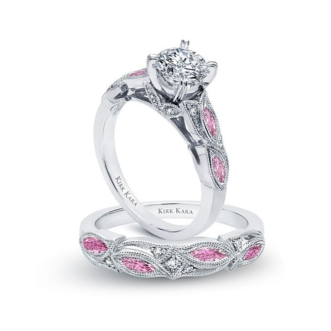 Brides Kirk Kara Style K155PDR Platinum Handcrafted Engagement Ring From The Dahlia Collection