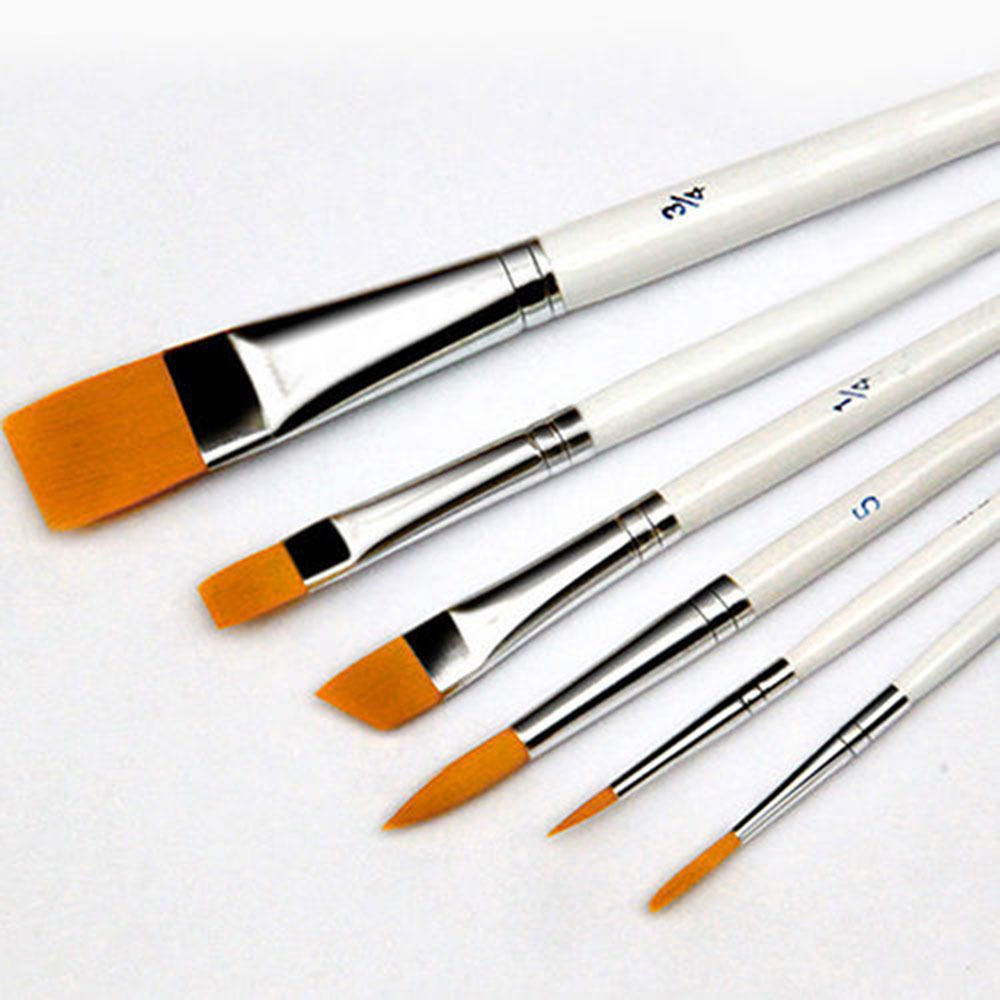 6Pcs Flat Painting Brushes Set Artist Wool Hair Watercolor Acrylic Oil Drawing