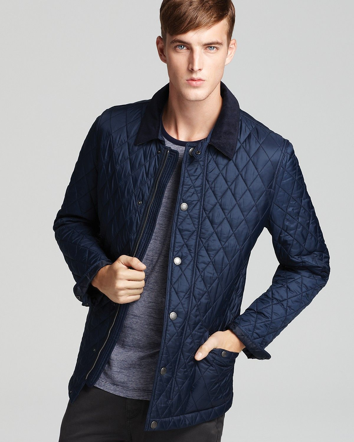 quilted quilt gray mens haymarket gallery clothing grey brit light product men lyst jacket vest in burberry for