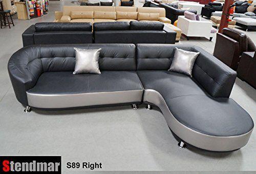 Stendmar New Modern Black Silver Genuine Leather Sectional Sofa