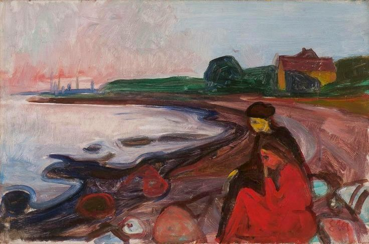 Beach with Two Seated Women.1904 by Edvard Munch
