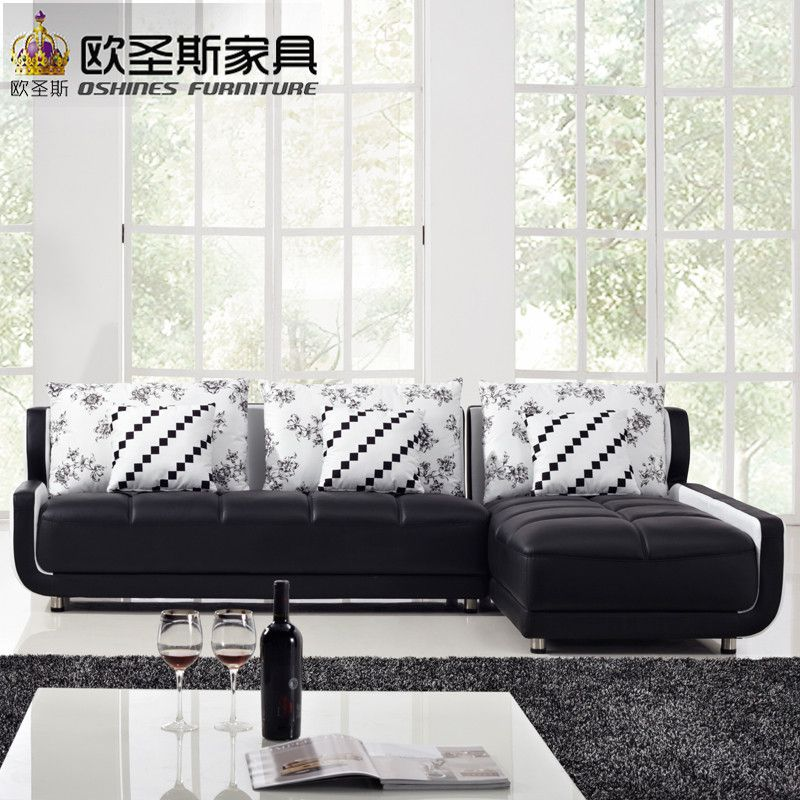 French Style New Sofa Design Black And White Small Size L Shaped Mini House Types Of Living Hall Chinese Leather Sofa Sets K001 Affiliate