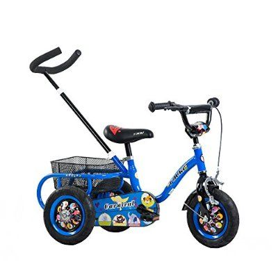Tauki 10 Inch Kids Tricycle With Adjustable Removable Push Handle