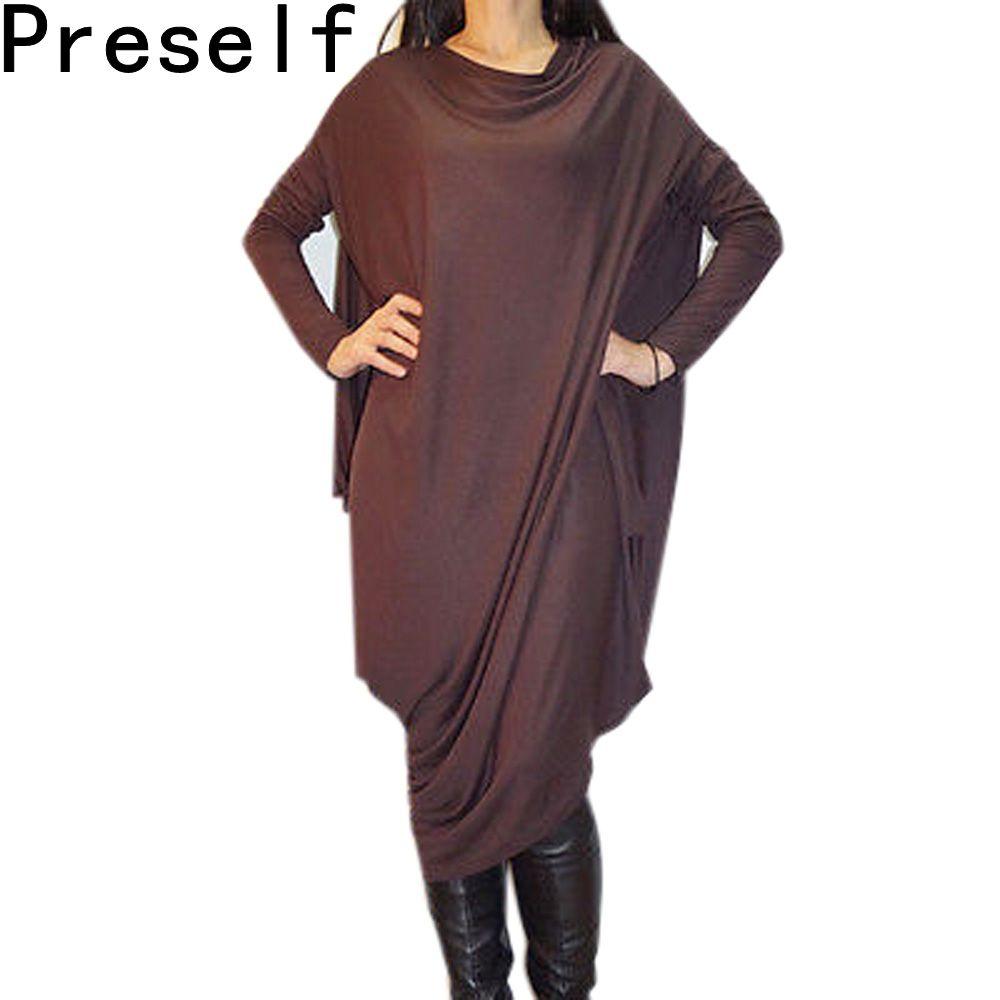 New women casual batwing sleeve loose asymmetric long dress oversize