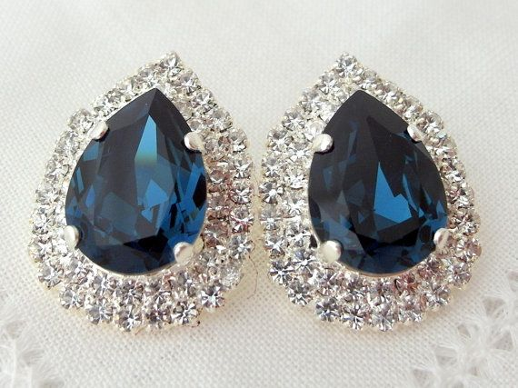92f29ac815b13 Navy Blue earrings,Navy blue bridal earrings,Blue earrings ...